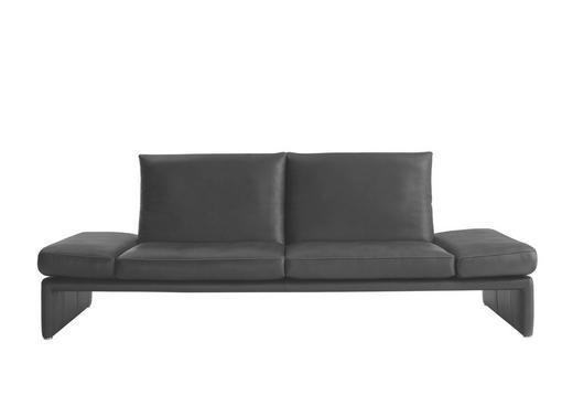 2,5-SITZER Echtleder Schwarz - Schwarz/Alufarben, Design, Leder/Metall (236/73/92cm) - KOINOR