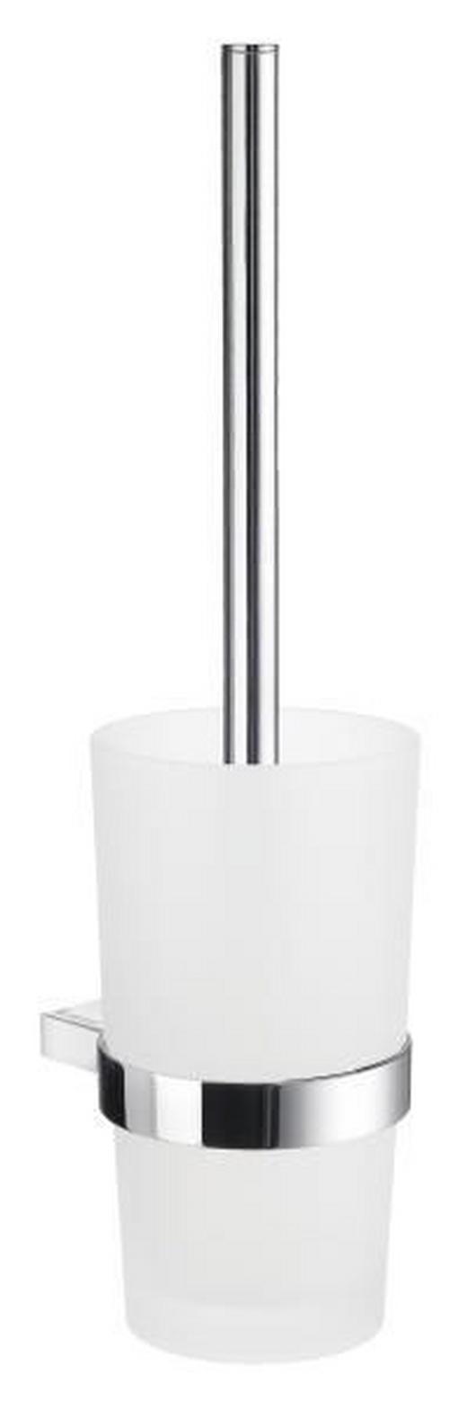 WC-BÜRSTENGARNITUR in Metall - Chromfarben/Weiß, Basics, Glas/Kunststoff (11,9/38cm)