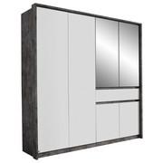 KLEIDERSCHRANK in Grau, Weiß - Weiß/Grau, Design, Glas/Holzwerkstoff (181/197/54cm) - Carryhome