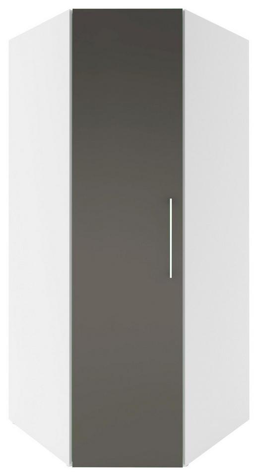 ECKSCHRANK Grau, Weiß - Chromfarben/Weiß, Design, Holz/Metall (92,5/208/92,5cm) - Carryhome