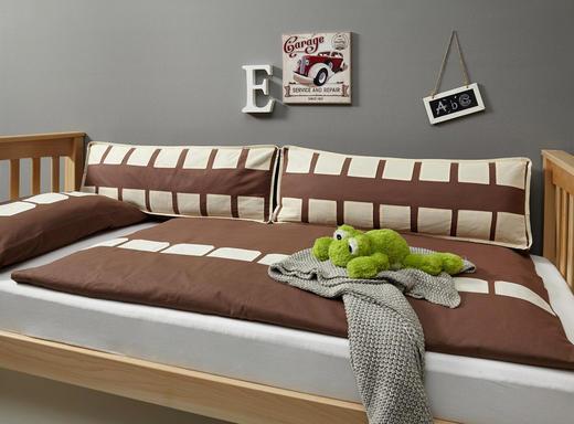 KINDERBETTWÄSCHE - Dunkelbraun/Naturfarben, Design, Textil
