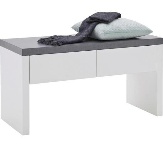 GARDEROBENBANK 91/48/38 cm - Weiß/Grau, Design, Holzwerkstoff (91/48/38cm) - Novel