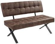SITZBANK Lederlook Braun  - Anthrazit/Braun, Trend, Textil/Metall (140/93/61cm) - Carryhome