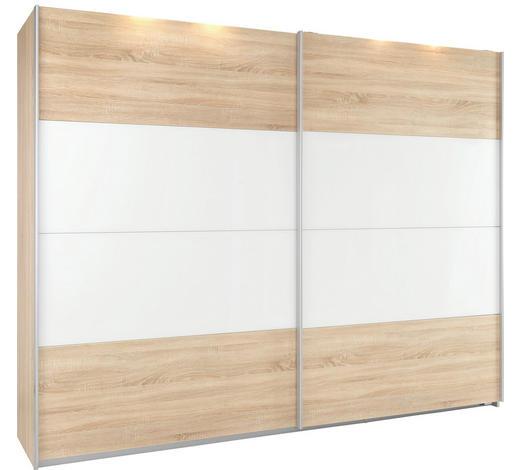 SCHWEBETÜRENSCHRANK in Weiß, Sonoma Eiche - Alufarben/Weiß, KONVENTIONELL, Glas/Holz (271/210/62cm) - Xora