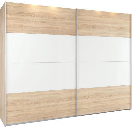 SCHWEBETÜRENSCHRANK 2  -türig Sonoma Eiche, Weiß - Silberfarben/Weiß, Design, Glas/Holz (271/210/62cm) - Xora