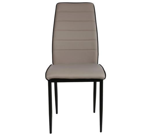STUHL Lederlook Schwarz, Schlammfarben  - Schlammfarben/Schwarz, Design, Textil/Metall (43,5/96/58cm) - Carryhome