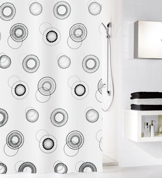 ZAVJESA ZA TUŠ - bijela/crna, Konvencionalno, tekstil (180/200cm) - KLEINE WOLKE