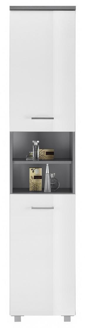 HÖGSKÅP - vit/silver, Modern, träbaserade material/plast (40/194/32cm)