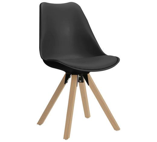 STUHL in Holz, Metall, Kunststoff, Leder Grau, Eichefarben - Eichefarben/Grau, Design, Leder/Holz (48/82/56cm) - Carryhome