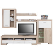 OBÝVACÍ STĚNA, bílá, Sonoma dub - bílá/barvy stříbra, Design, dřevěný materiál/umělá hmota (282/198/52cm) - Cantus