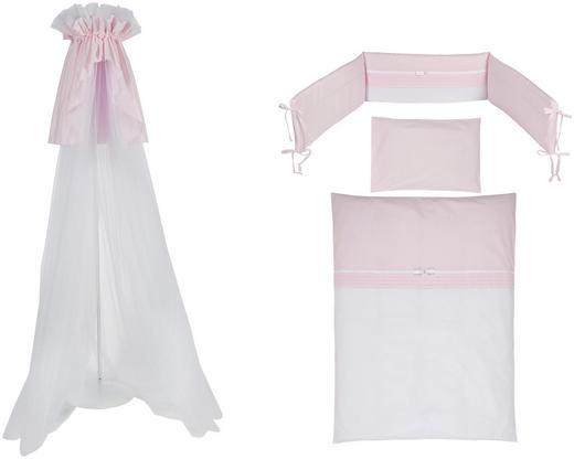GITTERBETTSET 4-teilig KRISTALL - Rosa/Weiß, Basics, Textil (100/135cm) - Patinio