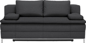 BOXSPRINGSOFA in Textil Anthrazit  - Chromfarben/Anthrazit, Design, Textil/Metall (200/93/107cm) - Novel
