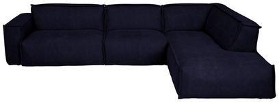 WOHNLANDSCHAFT Mikrofaser - Schwarz/Dunkelblau, Design, Kunststoff/Textil (340/220cm) - Valnatura