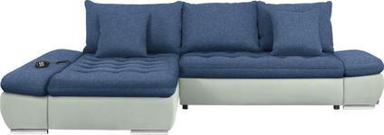 WOHNLANDSCHAFT in Textil Blau, Weiß - Chromfarben/Blau, Design, Textil/Metall (200/309cm) - Hom`in