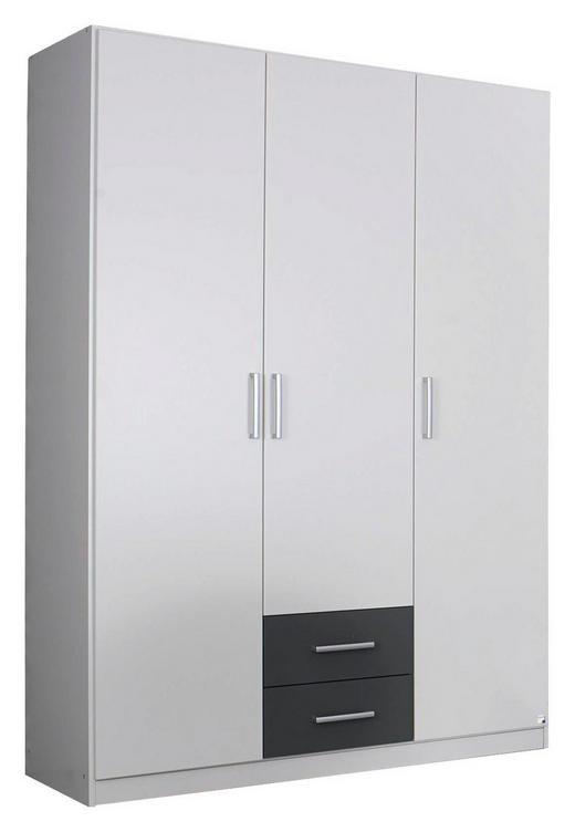 DREHTÜRENSCHRANK Grau, Weiß - Silberfarben/Weiß, Design, Holzwerkstoff/Kunststoff (136/197/54cm) - Carryhome