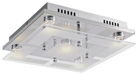 LED-DECKENLEUCHTE - Chromfarben, Basics, Glas/Metall (29/29cm) - Novel