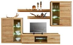 WOHNWAND Wildeiche furniert Eichefarben - Edelstahlfarben/Eichefarben, Design, Glas/Holz (316/190/48cm) - Cantus