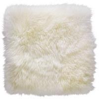 Schaffell Sitzkissen Weiß 34/34 cm  - Weiß, Natur, Fell (34/34cm) - Ambia Home