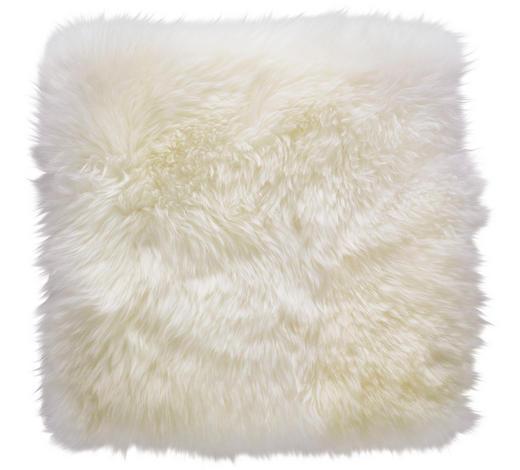 Schaffell Sitzkissen Weiß 34/34 cm  - Weiß, Natur, Fell (34/34cm) - Linea Natura