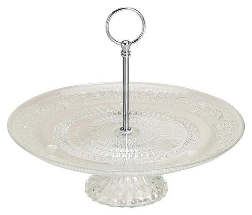 GEBÄCKTELLER  rund - Transparent/Silberfarben, Trend, Glas/Metall (29/25cm)