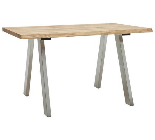 ESSTISCH in Holz, Metall 140/90/77 cm - Edelstahlfarben/Eichefarben, Design, Holz/Metall (140/90/77cm) - Dieter Knoll