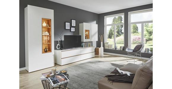 WOHNWAND in Weiß - Eichefarben/Schwarz, Design, Glas/Holzwerkstoff (391,5/205/56,5cm) - Dieter Knoll