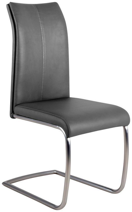 SCHWINGSTUHL Lederlook Grau - Edelstahlfarben/Grau, Design, Textil/Metall (44/99/60cm) - Carryhome