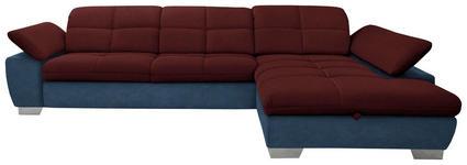 WOHNLANDSCHAFT in Textil Blau, Rot - Chromfarben/Blau, Design, Textil/Metall (297/204cm) - Xora