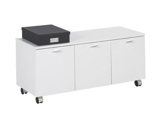 POJÍZDNÝ KONTEJNER - bílá/barvy chromu, Moderní, dřevěný materiál/umělá hmota (96/39/44cm)