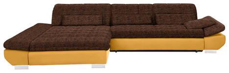 WOHNLANDSCHAFT in Textil Gelb, Orange - Chromfarben/Gelb, Design, Kunststoff/Textil (204/341cm) - Xora