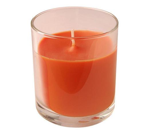KERZE IM GLAS - Transparent/Orange, Basics, Glas (7,2/8cm) - Ambia Home