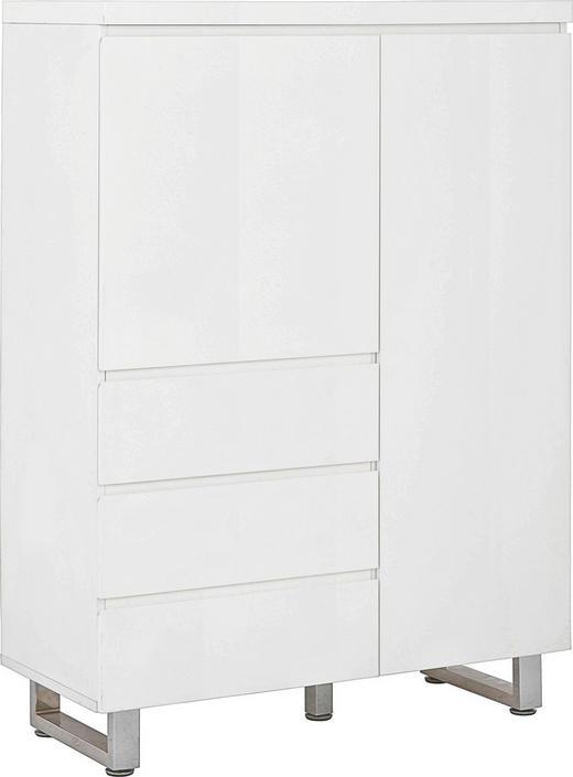 KOMMODE Weiß - Chromfarben/Weiß, Design, Metall (95,9/131,4/42cm)