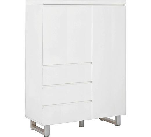 KOMMODE Hochglanz, lackiert Weiß  - Chromfarben/Weiß, Design, Metall (95,9/131,4/42cm)
