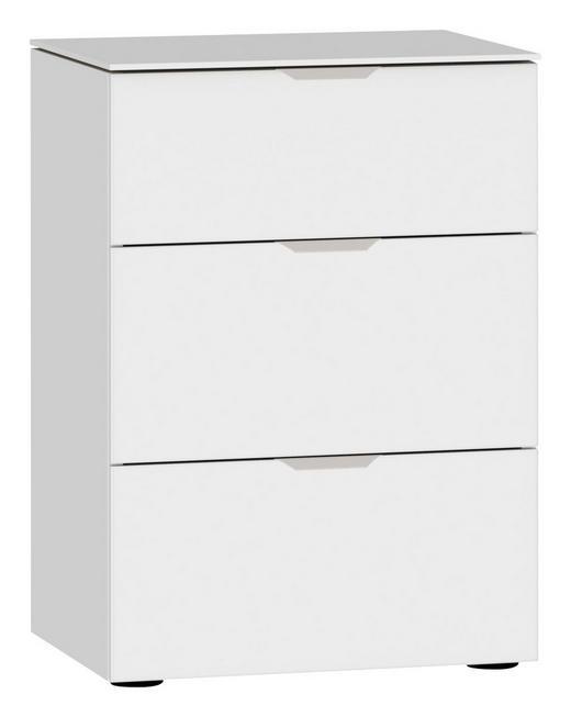 NACHTKÄSTCHEN Weiß - Edelstahlfarben/Schwarz, Design, Glas/Kunststoff (45/65/43cm) - Jutzler