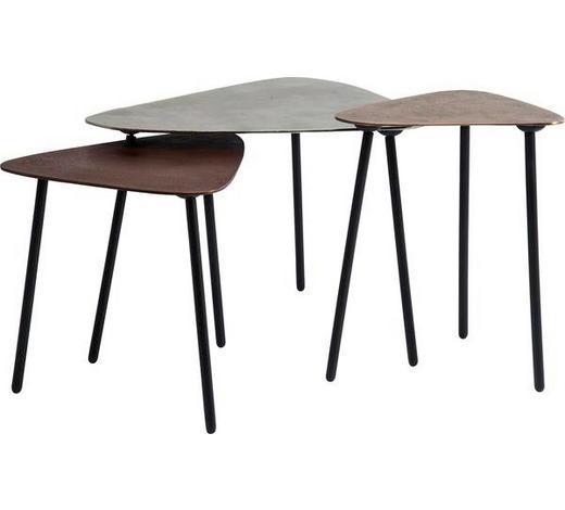 BEISTELLTISCHSET Freiform Silberfarben, Kupferfarben, Bronzefarben  - Silberfarben/Schwarz, Trend, Metall (62/57/50cm) - Kare-Design