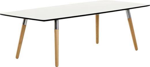 COUCHTISCH Buche teilmassiv rechteckig Alufarben, Creme, Naturfarben - Creme/Alufarben, Design, Holz/Metall (137/60/47cm)