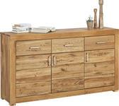 SIDEBOARD Wildeiche massiv Eichefarben - Eichefarben/Silberfarben, Design, Holz/Metall (160/88/40cm) - Linea Natura