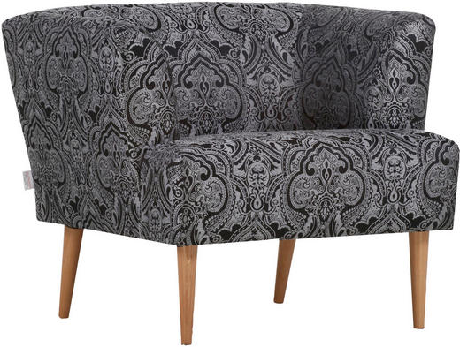 SESSEL in Textil Grau, Schwarz - Schwarz/Naturfarben, Design, Holz/Textil (85/71/80cm) - Carryhome