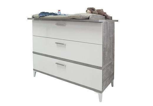 WICKELKOMMODE Ida Grau, Weiß - Silberfarben/Weiß, Design, Holzwerkstoff/Kunststoff (108/96/45cm) - My Baby Lou