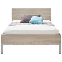 POSTELJA 120 cm   x 200 cm  , leseni material hrast - aluminij/hrast, Konvencionalno, kovina/leseni material (120/200cm) - Xora