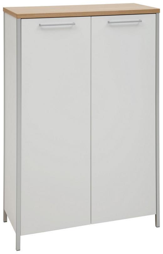 SCHUHSCHRANK Eiche furniert lackiert Eichefarben, Weiß - Eichefarben/Alufarben, MODERN, Holz/Holzwerkstoff (85/126/38cm) - Dieter Knoll