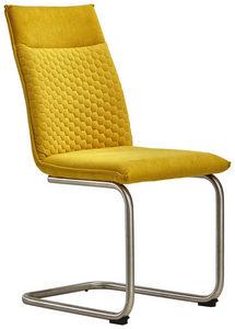 STOLICA NA SANKAMA - Boja nerđajućeg čelika/Žuta, Dizajnerski, Tekstil/Metal (47/92/59cm) - Xora