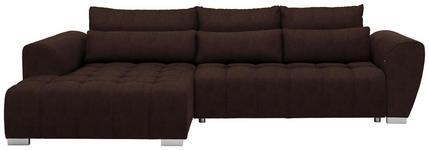 WOHNLANDSCHAFT in Textil Braun  - Silberfarben/Braun, MODERN, Kunststoff/Textil (218/304cm) - Carryhome