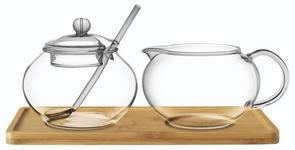 MILCH- UND ZUCKER-SET   Holz, Glas - Klar/Braun, Basics, Glas/Holz (22/11/13cm) - Novel