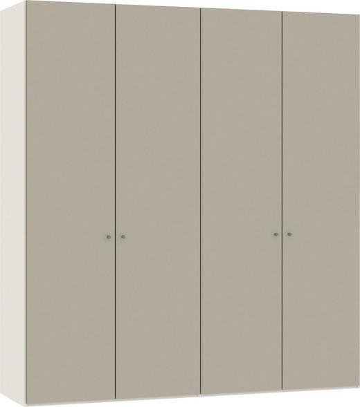 FALTTÜRENSCHRANK 2-türig Sandfarben, Weiß - Sandfarben/Silberfarben, Design, Glas/Holzwerkstoff (202,5/220/58,5cm) - Jutzler