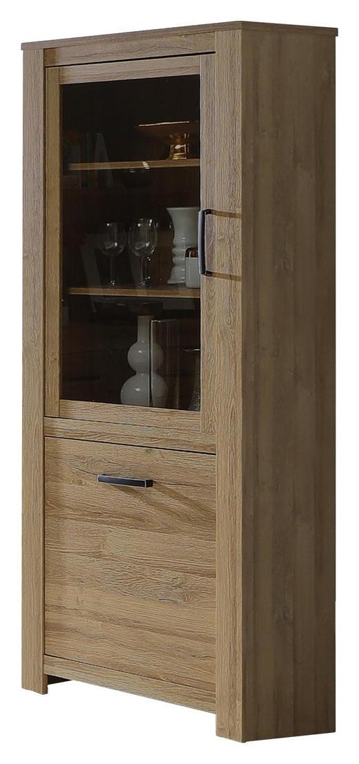 VITRINE Eichefarben - Eichefarben/Schwarz, KONVENTIONELL, Glas/Holzwerkstoff (77/185/42cm) - Carryhome