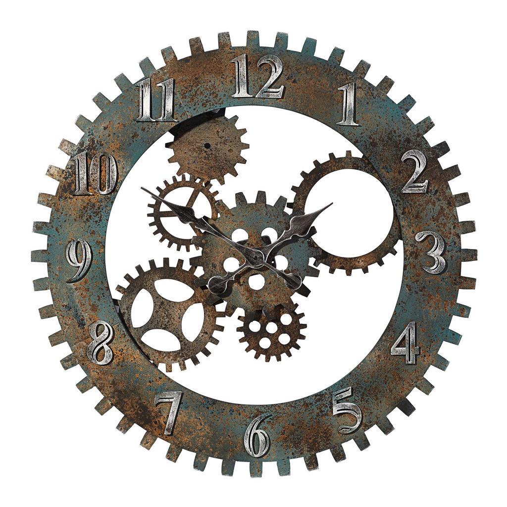 Ambia Home Wanduhr , Braun, Silber , Metall , Dekoration, Uhren, Wanduhren
