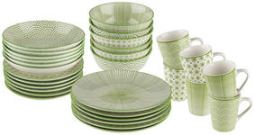 Porzellan  KOMBISERVICE 30-teilig   - Weiß/Grün, Trend, Keramik - Landscape
