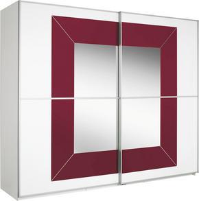 SKJUTDÖRRSGARDEROB - vit/bordeaux, Design, metall/glas (316/236/69cm) - Cantus