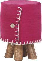HOCKER Flachgewebe Kiefer massiv Pink - Pink/Weiß, Trend, Holz/Textil (30/45cm) - Ambia Home